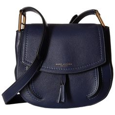 Marc Jacobs Maverick Shoulder Bag (Midnight Blue) Shoulder Handbags (12 820 UAH) ❤ liked on Polyvore featuring bags, handbags, shoulder bags, purses, hand bags, man bag, leather purses, blue leather handbags and blue leather purse