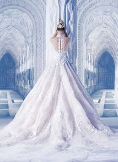 Designer Wedding Dress: Michael Cinco Bridal Collection 2013 S/S Dream Wedding Dresses, Bridal Dresses, Wedding Gowns, Frozen Wedding Dress, Frozen Wedding Theme, Lace Wedding, Wedding Disney, Frozen Theme, Backless Wedding