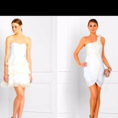 The one on the right for a wedding rehearsal dress, white and one shoulder