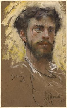 Francesco Paolo Michetti (Italian, 1851-1929), Self-portrait, 1877. Pastel and bodycolor on brown paper. The J. Paul Getty Museum, Los Angeles.
