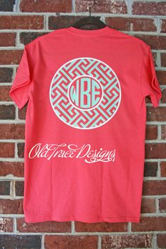 Short Sleeve Monogram Greek Key T Shirt Personalized Custom You choose colors! Great for kids or adults.