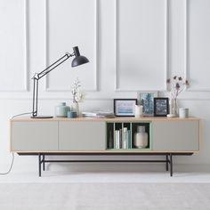 Tv-meubel Caspito - lichtgrijs/eikenhout | home24.nl