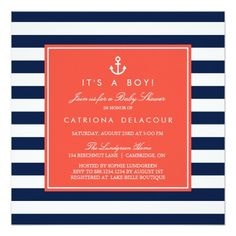 Pink and Gray Nautical Baby Shower Invitation Custom Baby Shower Invitations, Baby Shower Invitation Cards, Baby Shower Invites For Girl, Baby Boy Shower, Baby Shower Gifts, Baby Party Favors, Nautical Baby, Wedding Announcements