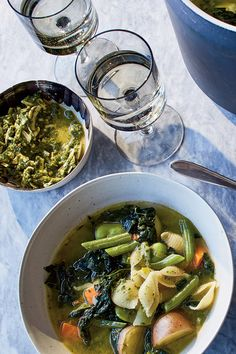 Soupe au Pistou (Vegetable Soup With Pesto) Recipe - NYT Cooking Winter Vegetable Soup, Easy Vegetable Soup, Winter Vegetables, Veggie Soup, Vegetarian Soup, Vegetable Stock, A Food, Good Food, Soup Recipes