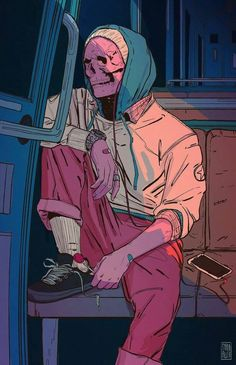 Discovered by Gabi. Find images and videos about art, illustration and skull on We Heart It - the app to get lost in what you love. Cartoon Kunst, Anime Kunst, Cartoon Art, Anime Art, Art And Illustration, Dark Art Illustrations, Aesthetic Anime, Aesthetic Art, Cyberpunk Kunst