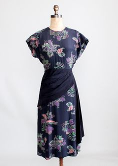 Vintage 1940s Floral Rayon Dress with Swag Front Skirt