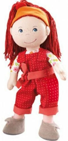 """HABA Doll Philippa by Haba. $35.14. """"HABA's doll family continues to grow with its new member, Philippa!  """"""""Hi, I'm Philippa with blazing red hair! I'm cheeky and always hungry for adventures, so I'm always out and about with my best friends!""""""""  Includes dungarees, belt, shoes, and hair-band. Compatible with all HABA doll dress sets for 13 1/2 inch dolls.  Perfect for ages 18 months and up."""""""