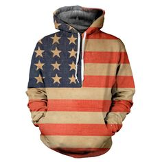 Vintage Flag Hoodie - Special 3D Sublimation Printing Technique - Sale available on shirts, tshirts, sweatshirts (jumpers) and hoodies. http://www.yovogueclothing.com/collections/hoodies/products/vintage-usa-flag-hoodie