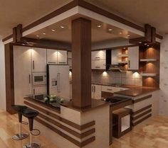 40 Awesome Craftsman Style Kitchen Design Ideas – Best Home Decorating Ideas Kitchen Room Design, Modern Kitchen Design, Home Decor Kitchen, Interior Design Living Room, Kitchen Ideas, Kitchen Wood, Open Kitchen, Nice Kitchen, Beautiful Kitchen