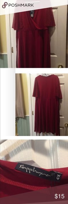 Sapphary Red dress Beautiful red faux rap dress with flutter sleeves.  This would be great for any occasion.  Says 4x but fits more like a 2x. New with tags. sapphary Dresses Midi