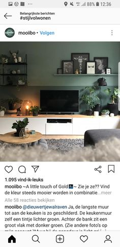 color wall - Home Page New Living Room, New Room, Interior Design Living Room, Home And Living, Living Room Decor, Bedroom Decor, Hipster Home Decor, Green Rooms, Natural Home Decor