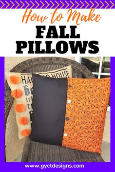 Step by step tutorial on how to make fall pillow covers for your patio pillows, couch pillows or as decorations for your favorite fall projects. Includes links for free Cricut cut files. Halloween Subway Art, Spooky Halloween Crafts, Halloween Sewing, Fall Sewing, Halloween Pillows, Halloween Projects, Halloween Stuff, Fall Pillows, Patio Pillows