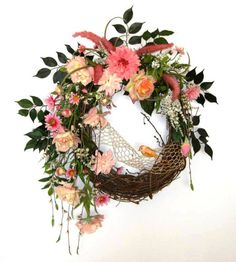 Lovely Pink Silk Floral Wreath Summer Wreaths by AdorabellaWreaths, $160.00
