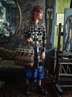 "Great look and styling for a Harper's Bazaar UK shoot at one of the Bloomsbury Group's former meeting places Charleston Farmhouse. Called ""Amongst The Bohemians,"" it features model Lera Tribel in photos by Tom Allen - November 2014."