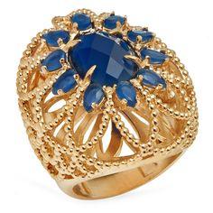 Anel semi joia com banho de ouro 18k e quartzo azul.