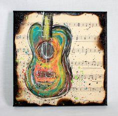 Music Art, Guitar on Sheet Music, Mixed Media on Canvas by ImpulsiveCreativity on Etsy