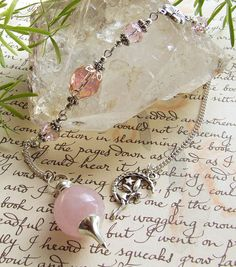Rose Quartz divining pendulum Moon fairy Handcrafted by White Raven Designs 2013 Wiccan, Magick, Witchcraft, Minerals And Gemstones, Rocks And Minerals, Pendulum Board, White Raven, Moon Fairy, Rose Quarts