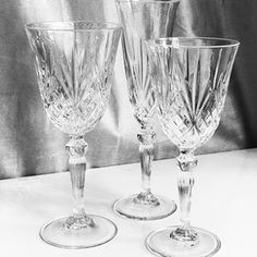 "NEW ITEMS AVAILABLE FOR RENT! 🎉🎉 Introducing our brand new ""Crystal Cut"" glassware. This collection contains a champagne flute, wine glass and water glass. Call us today for a free quote! 