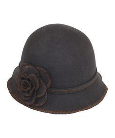 Gray Rosette Wool Cloche | zulily