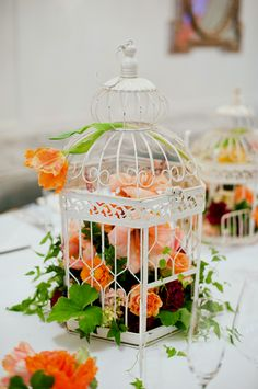 Use Cream White Bird Cages for a centerpiece container with Victorian flair.