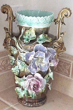 French Barbotine majolica vase with applied flowers in relief