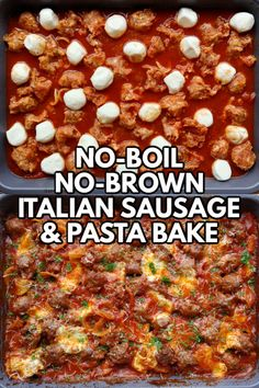No-Boil, No-Brown Italian Sausage & Pasta Bake - An easy one-dish recipe using uncooked pasta, raw sausage, pantry ingredients and fresh mozzarella that bakes into a cheesy, saucy Italian casserole with perfectly al dente pasta, browned sausage and gooey, melted cheese. Sausage Pasta Bake, Italian Sausage Pasta, Italian Sausage Recipes, Italian Meals, Italian Dishes, Pork Recipes, Pasta Recipes, Cooking Recipes, Vinaigrette