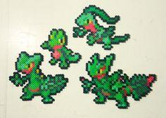 Treeko | Grovyle | Sceptile | Mega Sceptile | Pokemon | Perler Bead | 8bit | Nintendo | Sprite