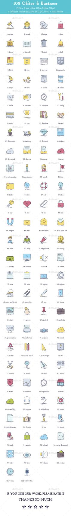102 Office & Business Colorful Icons