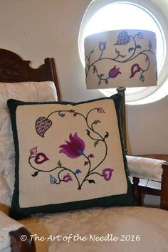 Crewelwork Summer Tendrils Cushion and Lampshade together - available either as a kit or embroidered by The Art of the Needle. http://etsy.me/2cYZtOL