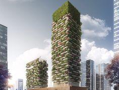 El primer bosque vertical de Asia estará cubierto por más de 3000 plantas - https://arquitecturaideal.com/primer-bosque-vertical-china/