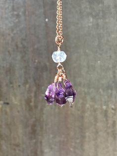 Amethyst crystal necklace february birthstone Amethyst and