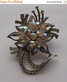 Summer Reductions Vintage 1960s Brooch with Diamante and Rhinestone Unusual Design by vintageretrojewels on Etsy