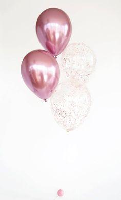 Glitter Ballons, Metallic Balloons, Gold Confetti Balloons, Glitter Confetti, Latex Balloons, Pink Glitter, Metallic Pink, Glitter Lipstick, Glitter Eyeliner