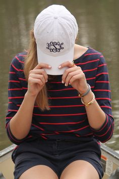 www.dailydoseofprep.com  Navy and Red, monograms, canoeing outfit, canoe picture,  preppy canoe outfit, lemon and line