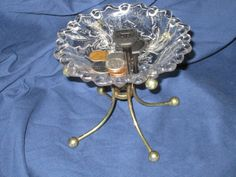 Items similar to Glass Pedestal Candy Dish or Candle Holder with a Vintage Lamp Fixture as the Base on Etsy Candy Dishes, Pedestal, Candles, Unique Jewelry, Handmade Gifts, Awesome, Glass, Etsy, Hand Made Gifts