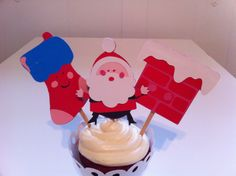 Santa Chimney and Stocking Cupcake Toppers by JellyBeanPaper, $8.00