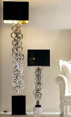 Luxury Designer Silver Rings Floor Lamp, so glamorous, over 3,000 beautiful limited production interior design inspirations inc, furniture, lighting, mirrors, tabletop accents and gift ideas to enjoy pin and share at InStyle Decor Beverly Hills Hollywood Luxury Home Decor enjoy & happy pinning