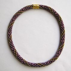 Stained Glass Mystery Bead Crochet Necklace:  Crocheted 15-around:  Pattern for sale at:  https://www.etsy.com/shop/WearableArtEmporium (in the Bead Crochet Necklace Pattern Section)