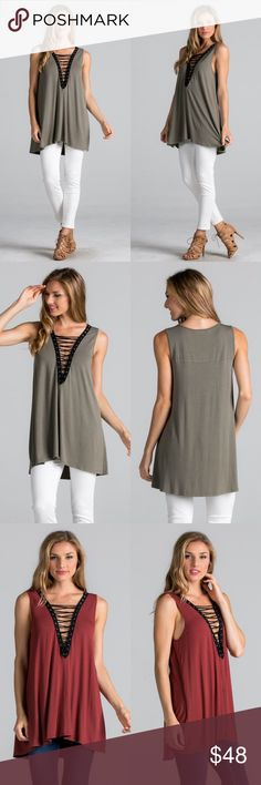 Sleeveless Lace Up Tank Tunic Top Lace up tank tunic top. Available in brick and olive colors. This listing is for the OLIVE. Brand new. True to size but a loose fit. NO TRADES DO NOT ASK. Bare Anthology Tops Tank Tops
