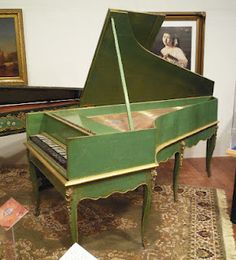 The earliest French piano known to exist: Grand Piano by Louis Bas of Villeneuve-lès-Avignon, France, 1781.  Get this colour using AChalk Paint™ decorative paint by Annie Sloan in Antibes Green with just a touch of Old White.