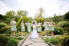 Example of sage bridesmaids dresses against outdoor background. This page has a bunch of photos from a wedding venue that has some similarities to the Wheeler House