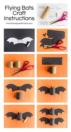 Halloween Flying Paper Roll Bats