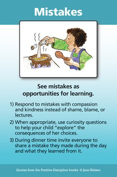 MISTAKES ARE WONDERFUL OPPORTUNITIES TO LEARN | Positive Discipline