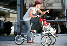 TagaBike  Bike (that can hold two kids) which turns into a stroller.