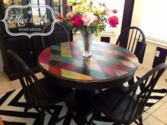 Max and Company - Painted Furniture redo, multi color harlequin design, custom painted! Harlequin Design. Hand painted using Pintura de Tiza (Chalk Mineral Paint), https://www.facebook.com/maxandcompany