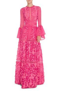 Costarellos Floral Applique Long A-Line Dress