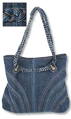 cute denim bag with braided handles