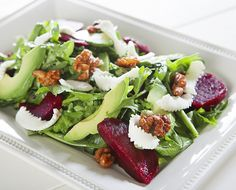 Local Arugula, Beet and Chévre Salad - This salad pays homage to the farm fresh bounty within 100 miles of Woodland, CA. Local beets, chévre, and walnuts are the pride of Nor Cal.