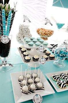 Dessert Table Perfect for a Bridal Shower or Wedding Dessert Buffet. Theme: Tiffany Blue and Zebra Print Check out the full dessert table by clicking the link. Tiffany Blue, Tiffany Party, Tiffany Wedding, Zebra Party, Blue Party, Party Party, Candy Table, Candy Buffet, Buffet Dessert