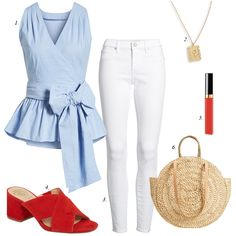 red, white and blue outfit, july 4th outfit ideas, how to build summer wardrobe, how to wear white jeans, straw bag, wrap blouse, mules, summer sandals